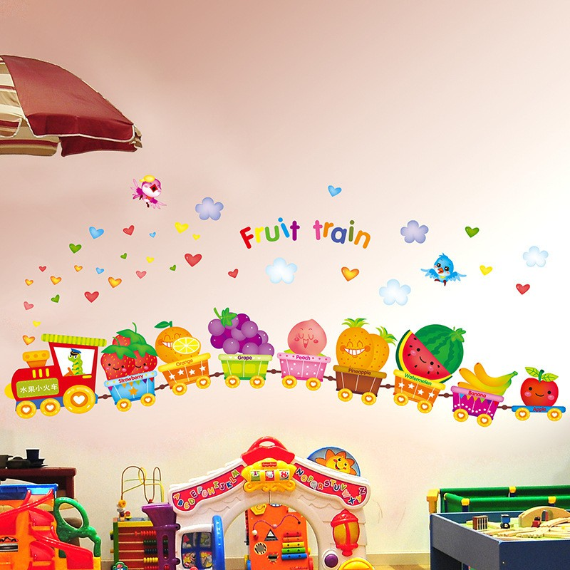 ❤限宅配❤幼稚園兒童房間床頭卡通可移除牆貼歡樂水果動物小火車DLX0243