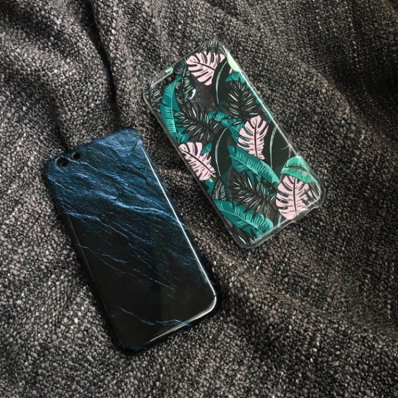 藍色亮面波紋夢幻雨林iphone case
