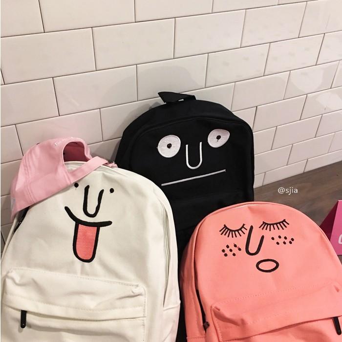 韓國 ulzzang 卡通可愛表情帆布雙肩背包後背包買三送一