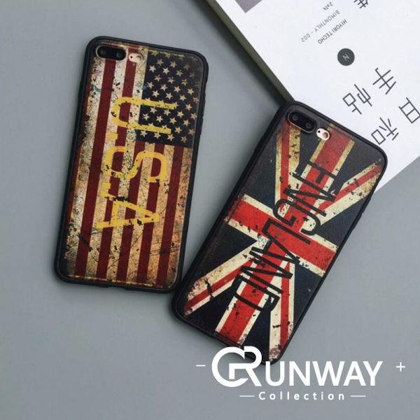 復古國旗蘋果iphone 7 plus 手機殼磨砂黑色iPhone7 6s 全包防滑外殼