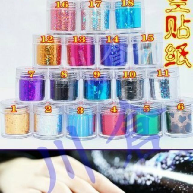 羽甲美睫光療水晶材料用品~130 色星空貼紙~宇宙星空鐳射七彩美甲貼轉印指甲貼18 個一組