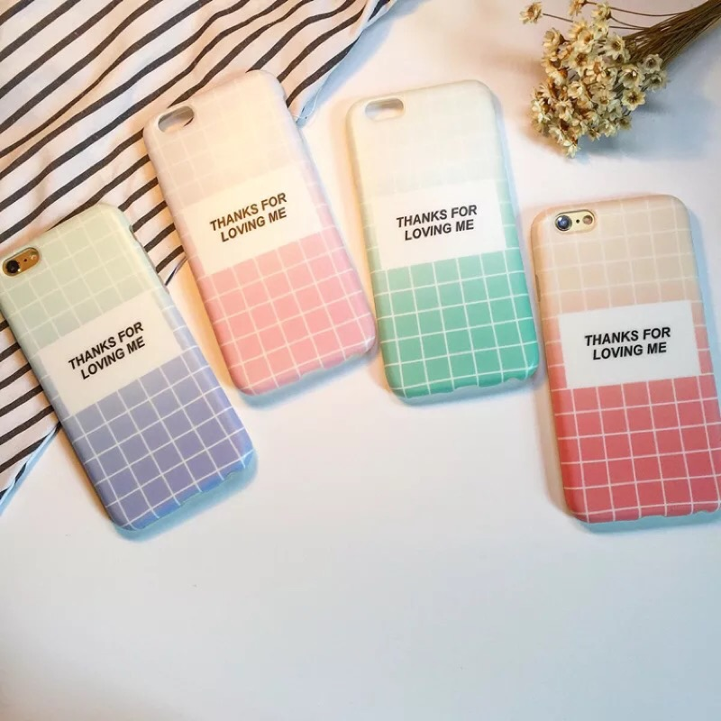 蘋果韓國漸變格子情侶磨砂軟殼系列手機殼