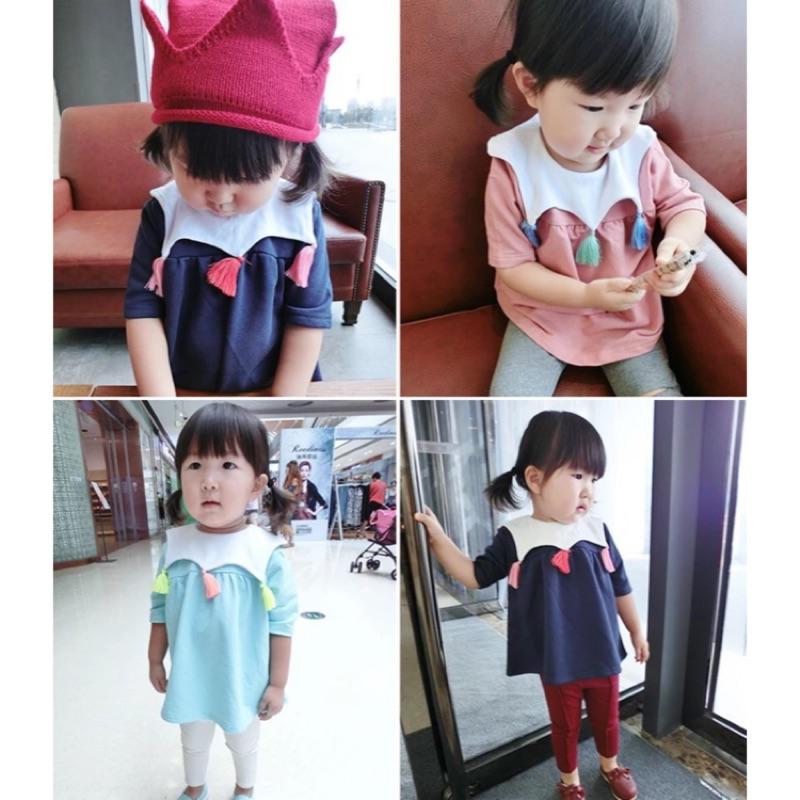 女童 領口流蘇娃娃衫七分袖上衣
