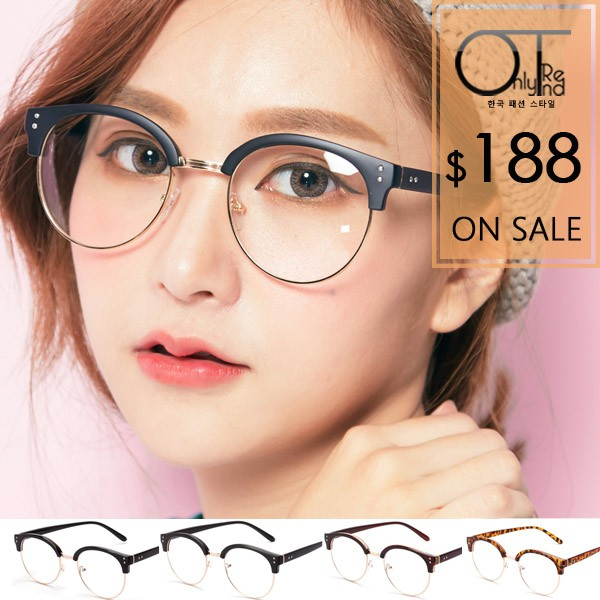 OT 眼鏡框中性顯小臉方框復古半框平光眼鏡 金屬鉚釘細膠框‧亮黑霧黑茶色豹紋 ‧M08