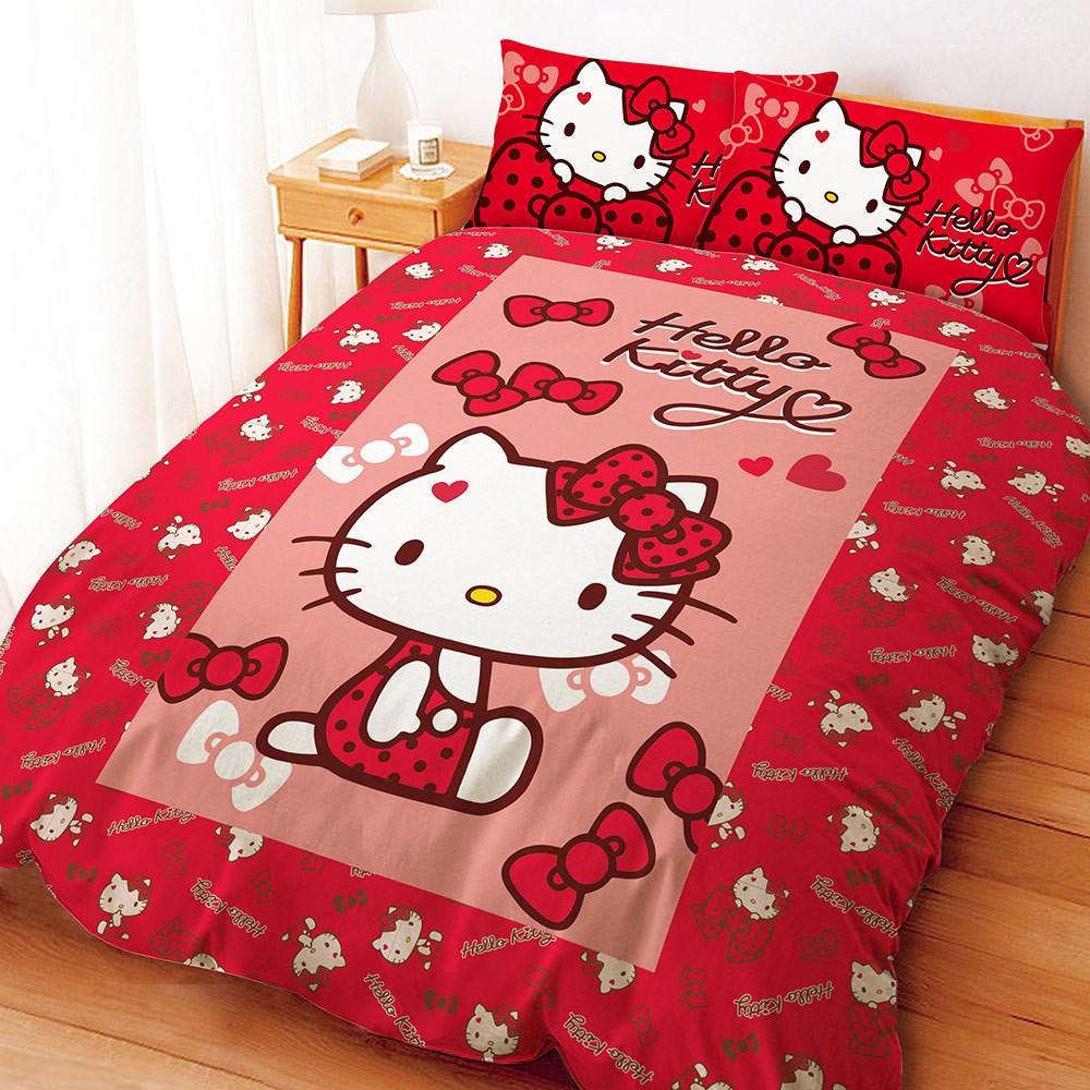 HELLO KITTY 蝴蝶結甜心系列紅~加大~雙人床包組三麗鷗