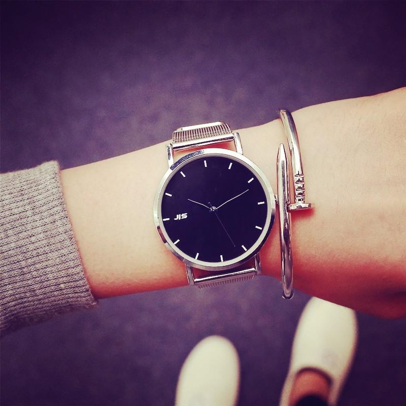簡約鏈 潮流男士腕表防水超薄鋼帶女款中學生情侶手表一對
