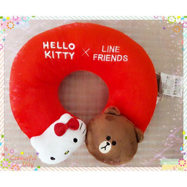 Kitty LINE 熊大U 型枕午安枕午睡枕抱枕頸枕靠墊U 形枕護頸枕辦公室車用 中