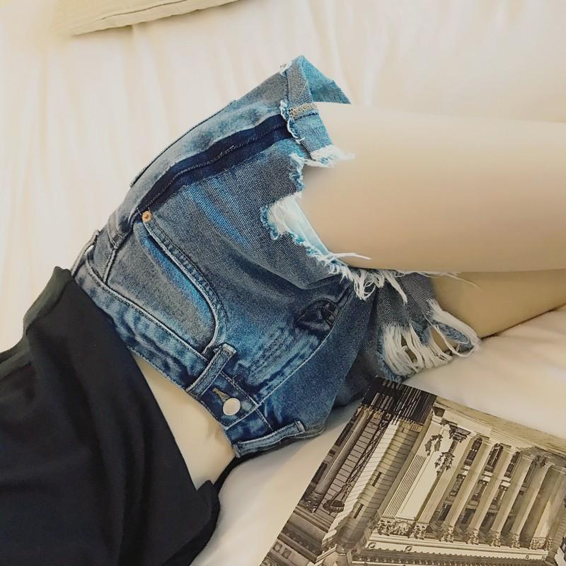 價▲~實拍~ ~ 破洞毛邊藍色牛仔短褲女學生熱褲修身顯瘦超短褲