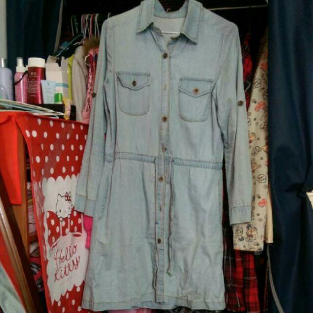 降求售牛仔腰間抽繩綁帶口袋長襯衫長洋裝