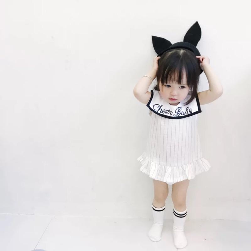 蓁誠 女童女寶兒童寶寶小童嬰幼兒字母條紋荷葉裙擺大翻領無袖圓領背心裙連身裙洋裝