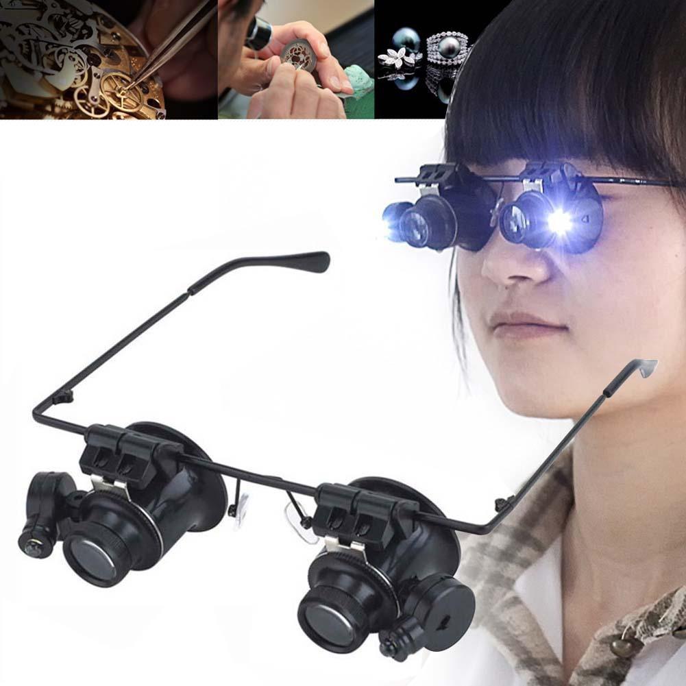 LED 20X 放大鏡放大雙眼眼鏡手錶修理