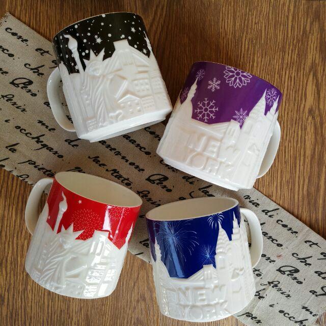 紐約夜景杯翻玩星巴克杯骨瓷杯大容量骨瓷星巴克馬克杯咖啡機立體除濕機雪花紐約自由女神