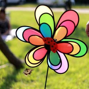 户外野營三層彩虹昆蟲風車花園裝飾兒童玩具風車彩虹風車