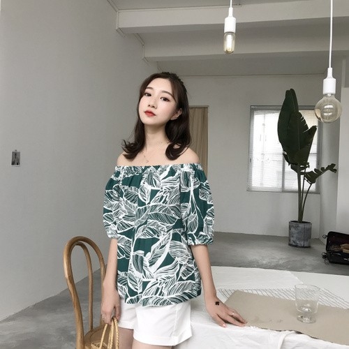 實拍 港味韓系復古度假風女裝文藝棉料 熱帶樹葉印花一字領寬鬆顯瘦娃娃衫襯衫女短袖上衣