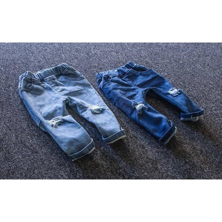 潮流 刷破彈力薄款牛仔長褲WN0552