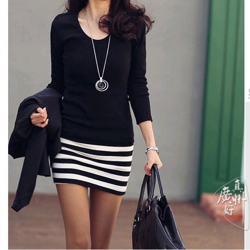 ESY1 性感女士黑色迷你連衣裙修身長袖條紋拼布圓領