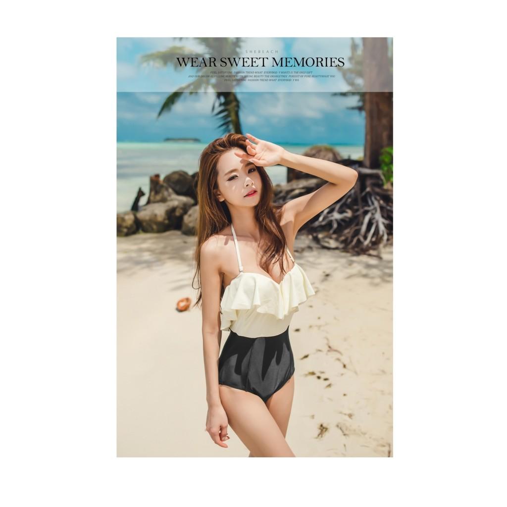 韓國美人大荷葉邊三角連體帶鋼托顯瘦遮肚束身沙灘度假泳裝