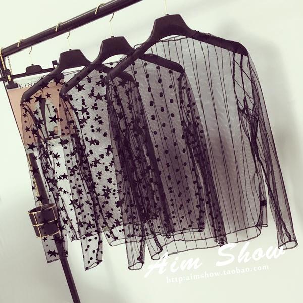2017  性感透視半高領網紗罩衫女修身長袖蕾絲打底衫上衣潮