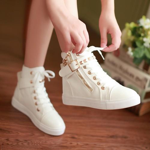高邦平底布鞋夏女生高腰白球鞋少女板鞋初高中學生高幫帆布鞋單鞋