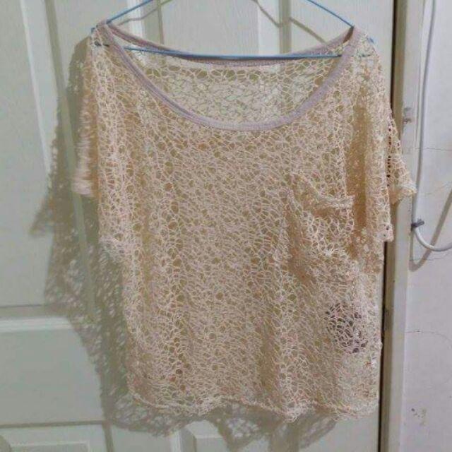 柔軟輕甜粉嫩杏色口袋鏤空鉤織短袖罩衫上衣泳衣比基尼罩衫