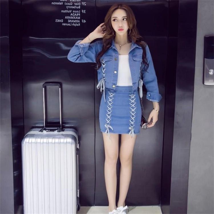 2017 春裝 綁帶口袋牛仔外套包臀修腰短裙套裝女裝
