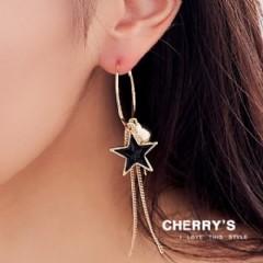 流蘇五角星不對稱耳環~櫻桃飾品~~10465 ~