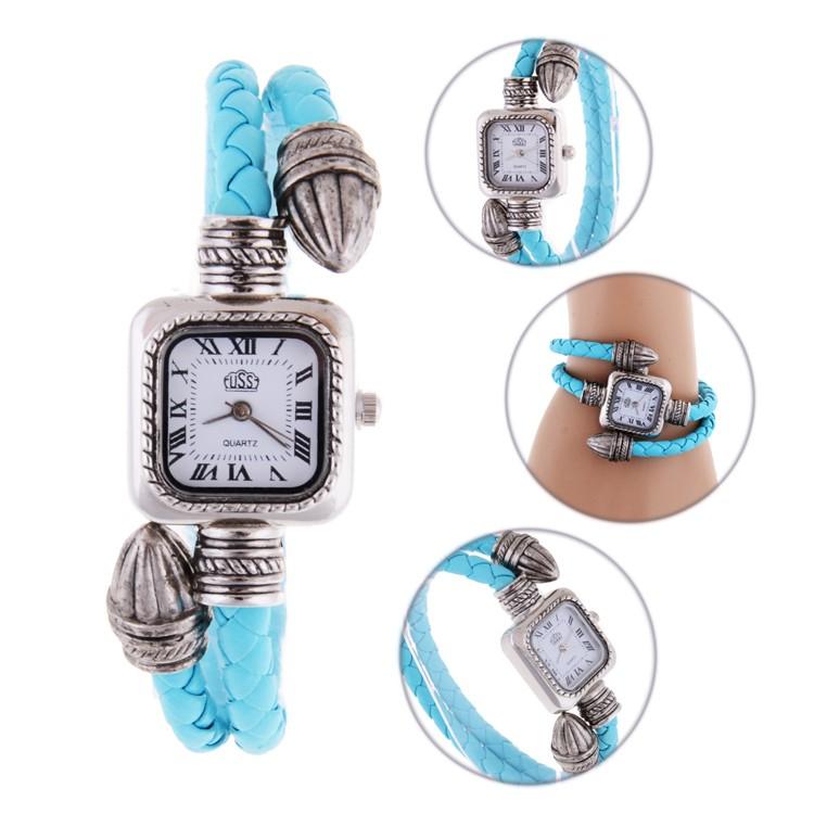 休閒女裝方形錶盤石英型模擬復古手錶手鍊