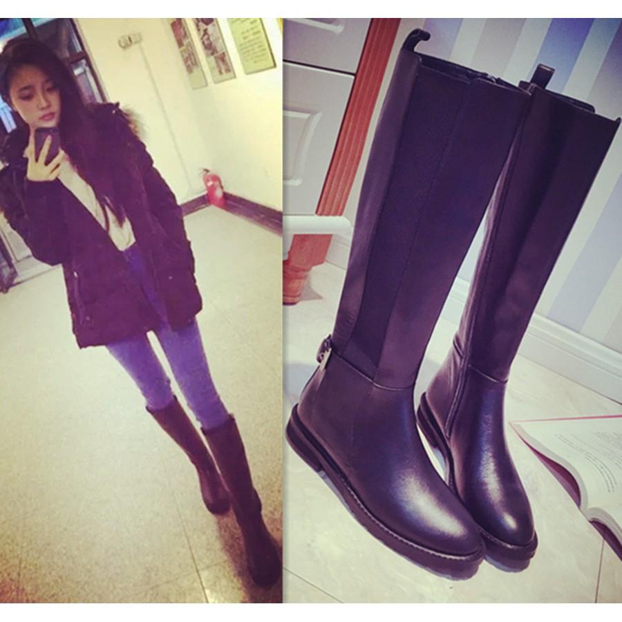 窈窕佳人美麗妝扮11 号 顯瘦中跟長靴粗跟尖頭女靴皮 騎士靴側拉鏈長筒靴高筒靴