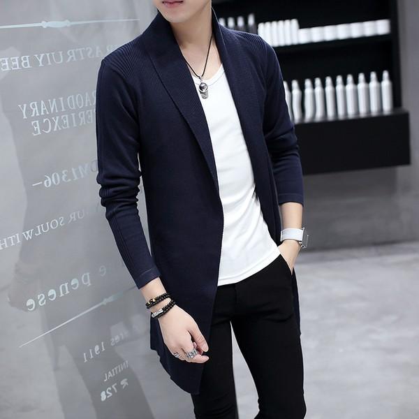 修身男士毛衣中長款外套潮流男裝針織衫開衫青年線衫
