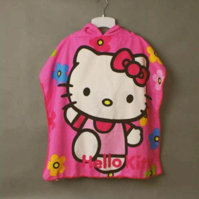 兒童粉紅Kitty 藍色米奇浴袍海灘巾連帽套頭斗篷吸水披肩毛巾料浴巾,