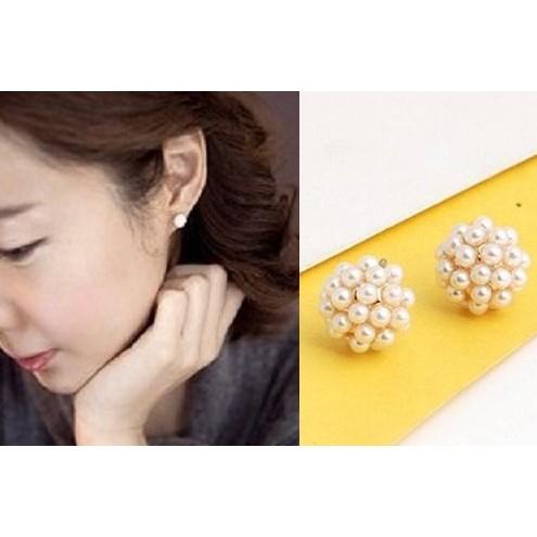 韓國淑女最愛電鍍真金鑲嵌圓形珍珠小巧耳釘