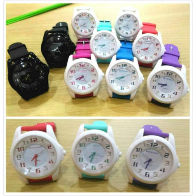 韓流繽紛馬卡龍果凍色系大錶面深凹數字刻度 手錶男女兒童學生情侶對錶~S C ~柒
