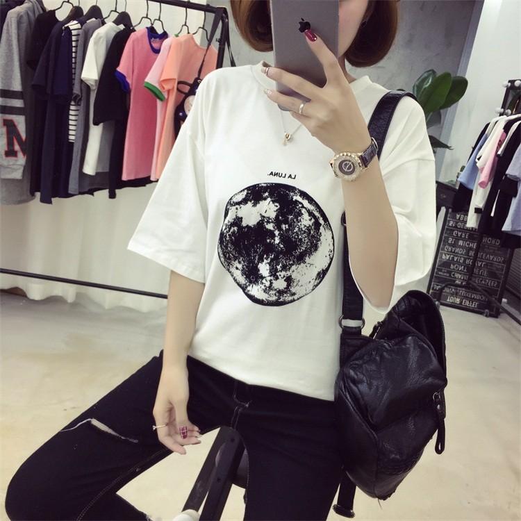 星球地球印花寬松顯瘦短袖T 恤女上衣
