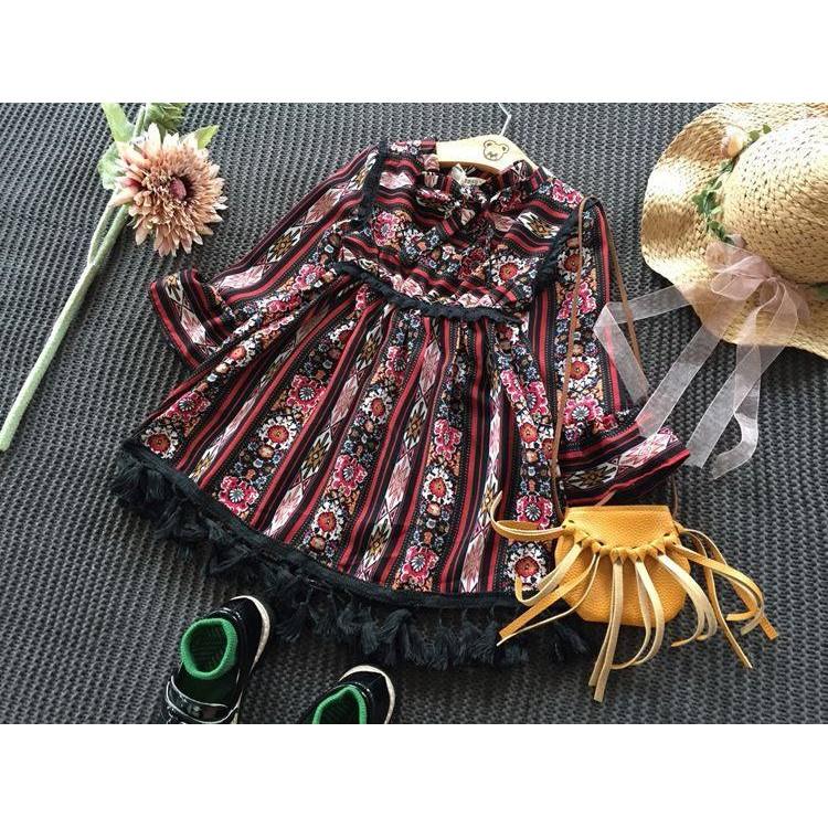波西米亞風收腰下擺流蘇碎花長袖連衣裙
