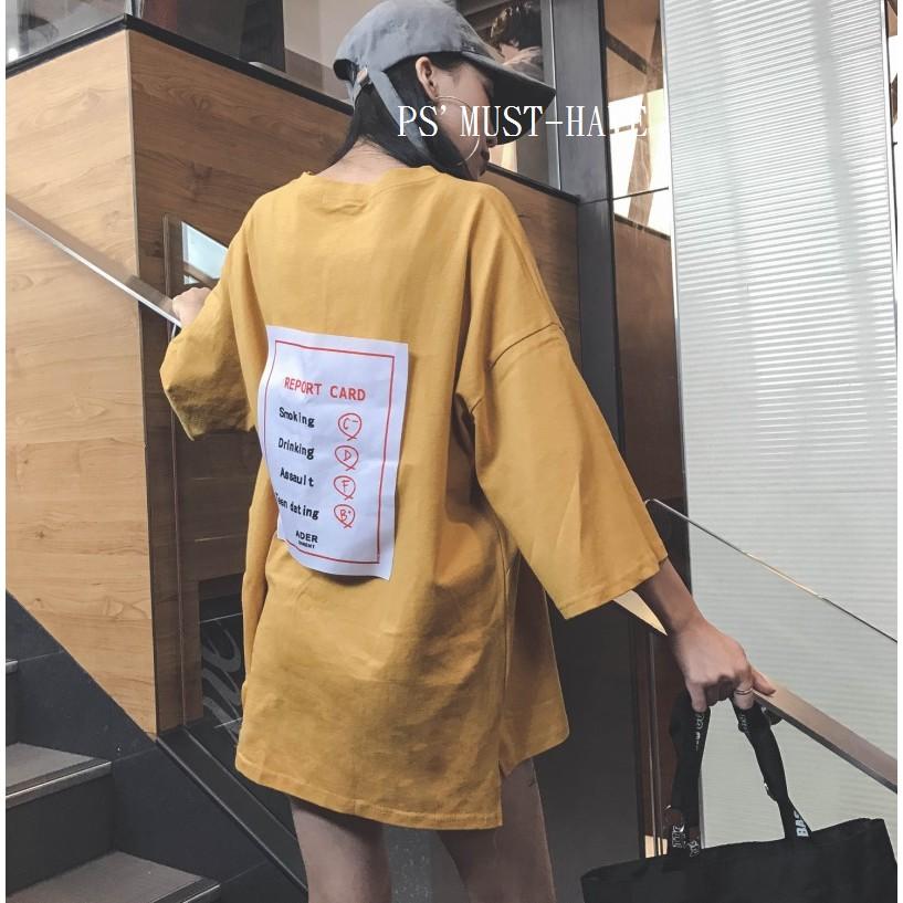 FD35184 款大 孕婦裝超寬鬆嘻哈 圓領七分袖中長板T 恤附實拍三色入