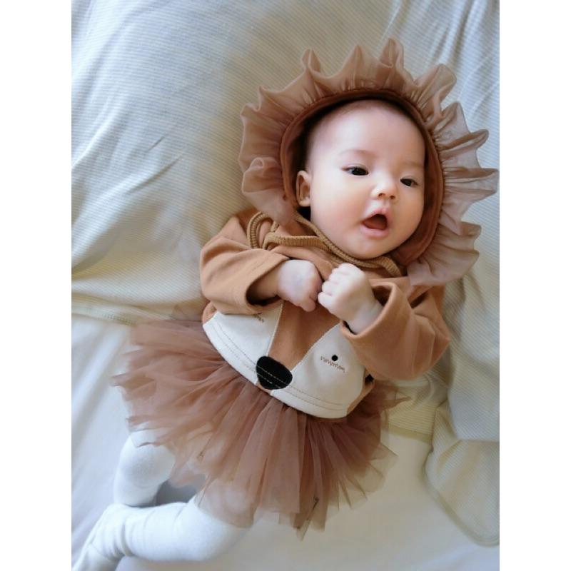 初秋款寶寶長袖狐狸躲貓貓上衣帽網紗長內搭褲黑棕白三色