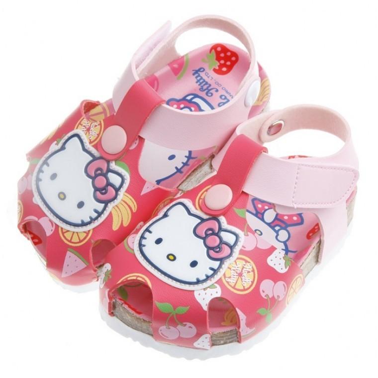 HelloKitty 凱蒂貓水果系列桃色歐風兒童氣墊涼鞋