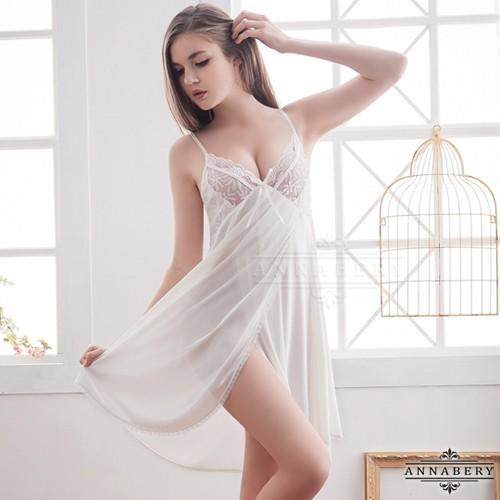 中大 Annabery 純淨白蕾絲側開襟柔緞睡衣情趣睡衣性感睡衣~天使寶貝~生日