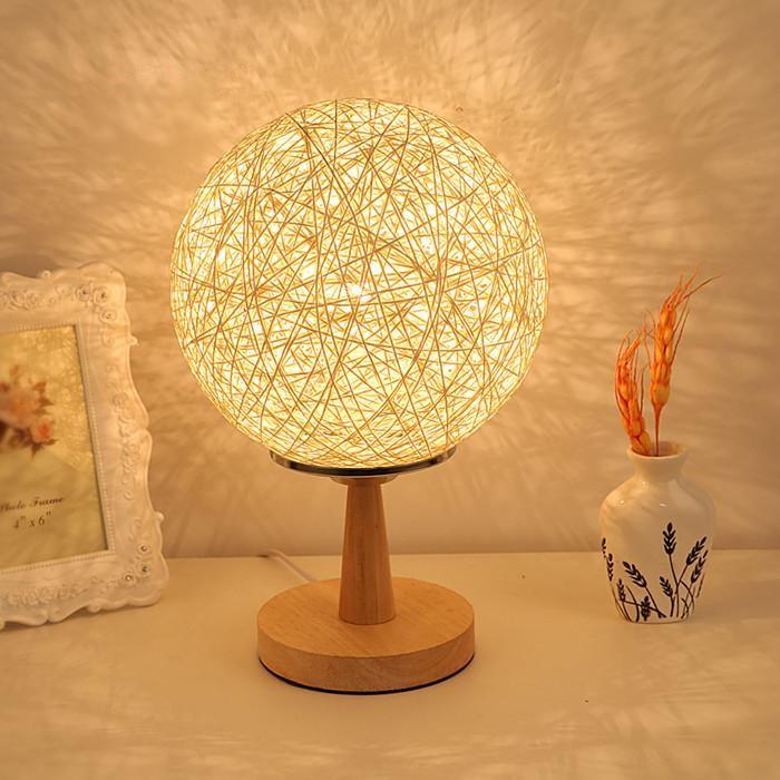 簡約田園臥室臺燈 可調光床頭藤球燈溫馨房間麻球木裝飾燈