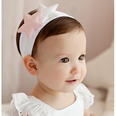 韓國 嬰兒女童星星公主髮帶純棉兒童棉布發圈寶寶百日攝影配飾女童發飾星星髮帶
