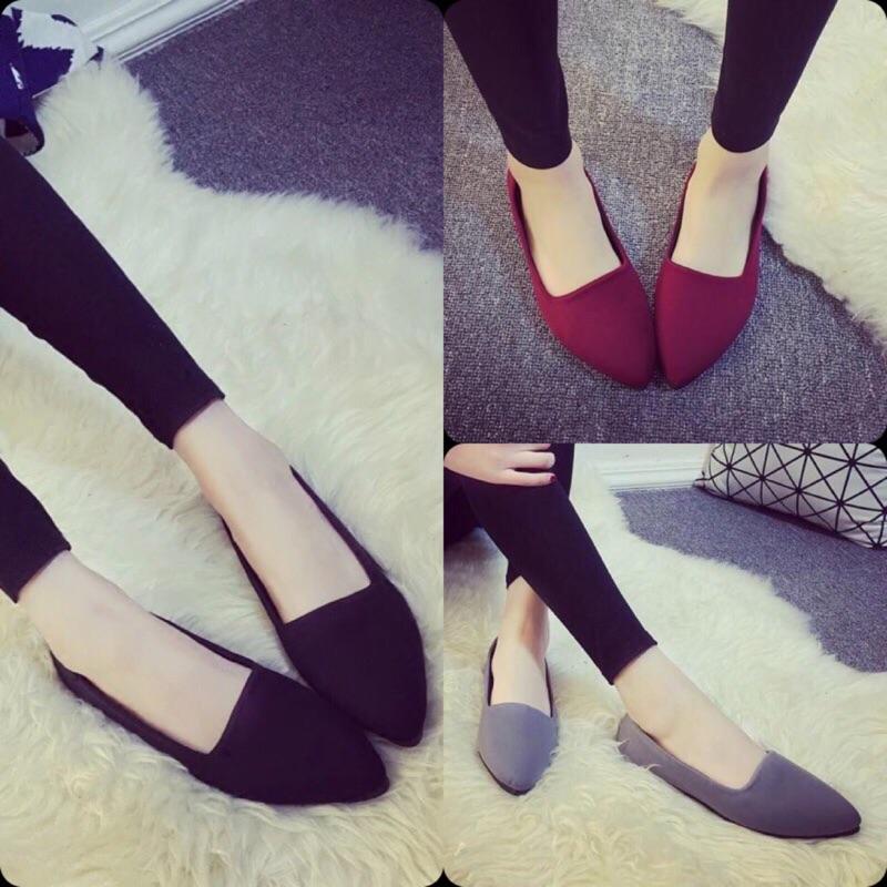 尖頭淺口平跟布百搭舒適休閒工作鞋平底鞋