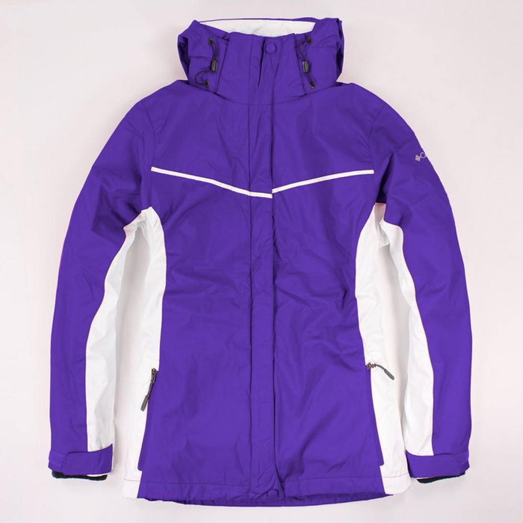 美國百分百【全新真品】Columbia 外套 夾克 連帽 哥倫比亞 深紫 兩件式 防水 女 M L號 E480