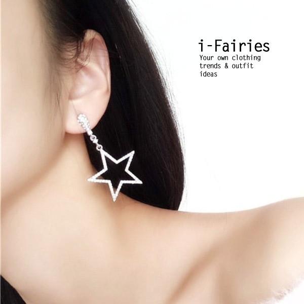 星星月亮鑲鉆耳環甜美長款耳釘~ifairies ~SL32282 ~