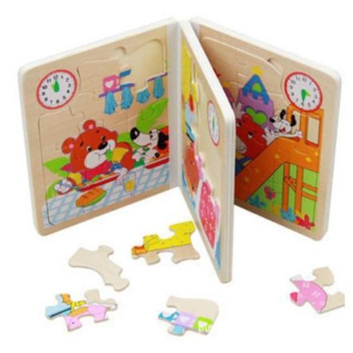 蓉易市集~04 1K0317 款兒童木書木製書拼圖書書本拼圖動物園不挑款