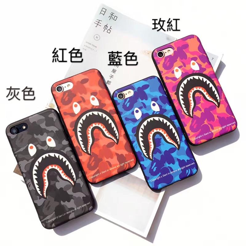 迷彩鯊魚蘋果iphone7 i7plus 手機殼iPhone6 6s 硅膠軟殼i6p 6s