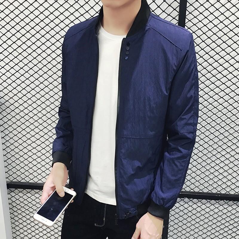 潮流單品男士夾克 2016 秋裝 棒球領男裝外套青年修身薄款帥氣外衣