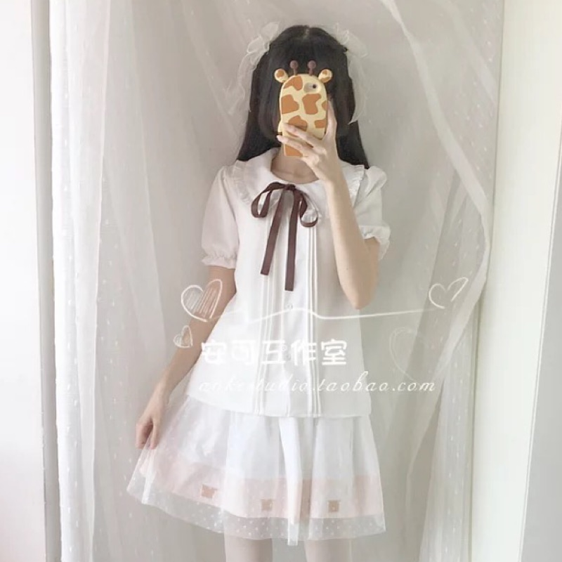 encore 日系娃娃領襯衫 短袖襯衫Lolita 蘿莉塔打底JK Cos