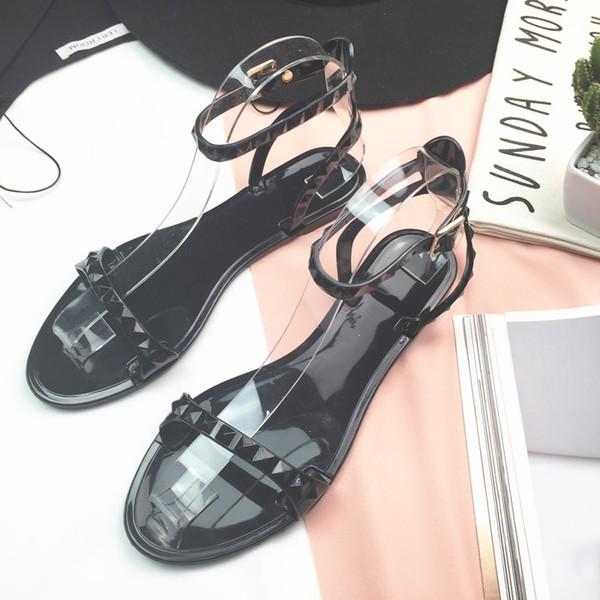 韓國 簡約一字露趾 羅馬鞋 潮平跟女鞋
