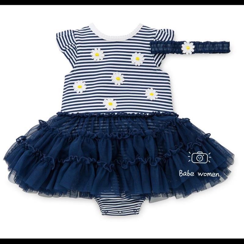 美國Little me 花朵條紋網紗蓬蓬裙短袖連身包屁衣髮帶二件組女寶寶女童禮服洋裝生日派