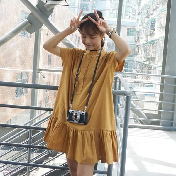 韓國文藝寬松荷葉邊短袖連衣裙複古純色棉麻立領襯衫裙子
